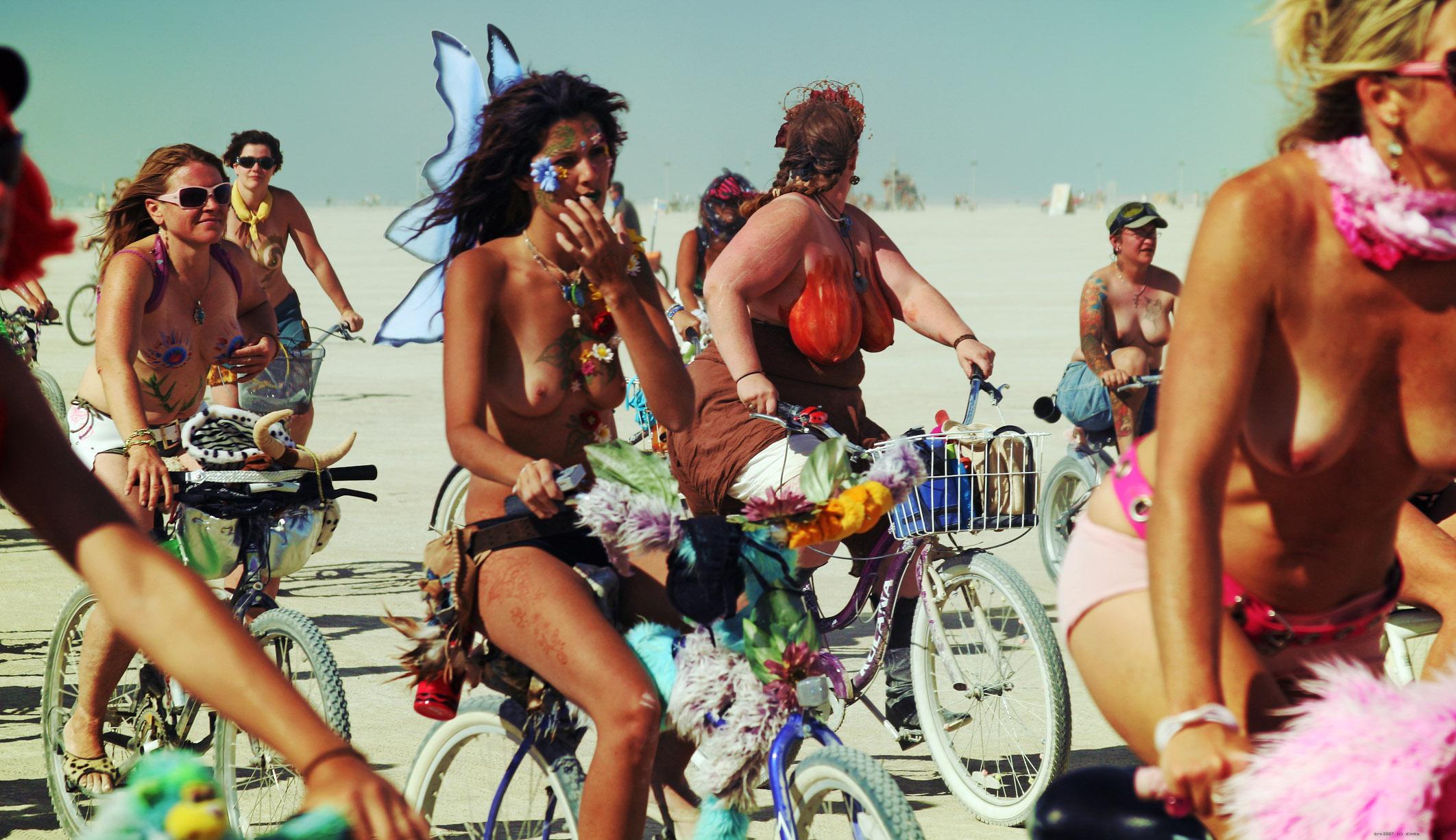 Man bike Burning naked